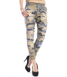 MARYLEY Jeans boyfriend baggy Camouflage VERDE/BLU Art. B543 MADE IN ITALY #maryley