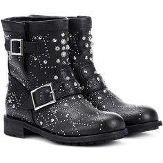 Jimmy Choo Youth Embellished Leather Ankle Boots ($1,515) ❤ liked on Polyvore featuring shoes, boots, ankle booties, black, black leather bootie, black booties, short black boots, leather boots and leather ankle boots