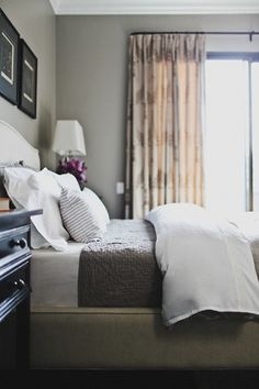 Suzie: Catherine Kwong Design - Sophisticated bedroom with gray paint color, Crate & Barrel ...