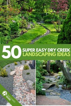 Diy Dry Creek Landscaping Ideas With Pictures! Everyone wants to stylize their yard with some sort of unique landscaping, but sometimes the ideas don't come, and you feel like you can't do it yourself. Have you considered creating a dry river bed or creek Dry Riverbed Landscaping, River Rock Landscaping, Landscaping With Rocks, Front Yard Landscaping, Florida Landscaping, Outdoor Landscaping, Backyard Patio, Backyard Ideas, Landscaping Supplies
