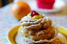 A choux pastry filled with pastry cream and topped with a cherry, these delicious cream puffs are served throughout Europe and the America's for St. Joseph's Day.