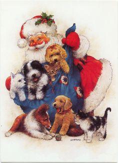 santa with a bag of  pups and kitties