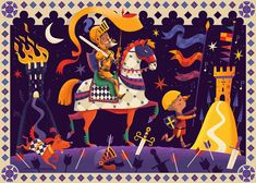 Don Quixote - illustrated 36 piece puzzle for French toy company, Djeco