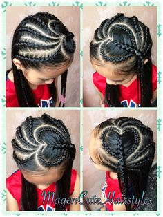 Ways You Can Stretch Your Natural Hair Without Using Heat Forme de coeur tresse hollandaise❤️❤️❤️ Lil Girl Hairstyles, Girls Natural Hairstyles, Kids Braided Hairstyles, Toddler Hairstyles, Little Girl Braids, Braids For Kids, Girls Braids, Curly Hair Styles, Natural Hair Styles