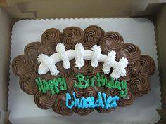 Football CUPCAKE cake.  Perfect for Jackson's bday