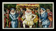 """English Tradecard - The Lord of Misrule      Typhoo Tea """"Ancient & Annual Customs (series of 25 issued in 1922)  #7 The Lord of Misrule ~ """"or Abbott of Unreason was performed during the Christmas season. The master of the house and the household had to obey him"""""""