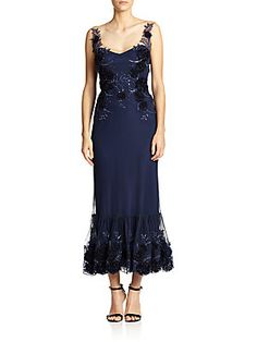 Marchesa Notte Embellished Illusion Gown