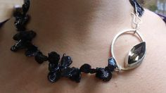 Pretty Black Pearl and Smoky Quartz Sterling Silver Necklace by PataSilverDesign