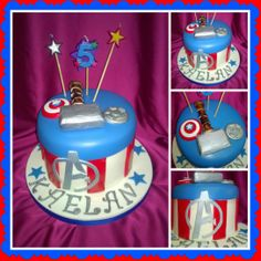 """Avenger's Cake 6"""" Round logo was created by a pinning process with a image on page."""