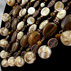 Brown Cream & Copper Bib Necklace / Statement-Boho-Chic