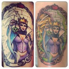 Done by Jim at RedSky tattoo in Castle Rock, CO Real Tattoo, Tattoo Art, Disney Castle Tattoo, Disney Villains, Disney Characters, Queen Tattoo, Evil Queens, Castle Rock, Disney Tattoos