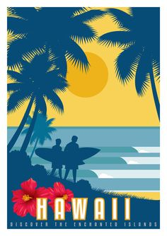 Hawaii Vintage Art Deco Style Surf Travel Poster. Sizes 8'' x 10'' to 24'' x 36''