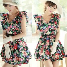 Sexy Women Flouncing Falbala Sleeve Cotton Floral V-Neck Mini Dress Skirt, unit price of $14.75 only - Yesfor.com