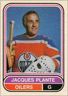 The Jacques Plante rookie card appeared as in the Parkhurst set. His final hockey card as a player is part of the O-Pee-Chee WHA set. Hockey Shot, Hockey Gear, Bruins Hockey, Hockey Goalie, Hockey Players, Ice Hockey, Hockey Stuff, Hockey Baby, Montreal Canadiens