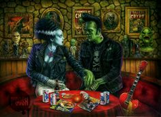 P'gosh I Lost My Heart In Transylvania Print* - Retro-a-go-go! Mike Bell, Frankenstein's Monster, Monster Squad, Hybrid Moments, Bride Of Frankenstein, Frankenstein Costume, Famous Monsters, Classic Monsters, Psychobilly