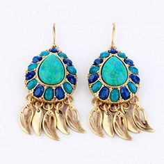 BeOL natural stone blue water drop earrings *** Want to know more, click on the image.