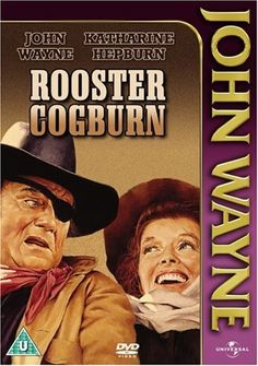 Rooster Cogburn (1975) Marshal Rooster Cogburn unwillingly teams up with Eula Goodnight to track down the killers of her father.    John Wayne, Katharine Hepburn, Anthony Zerbe...TS western
