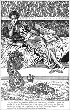 Virgil Finlay, Shahrazad. Inked by Finlay and completed after his death in 1971 by Pennsylvania artist Joe Wehrle.