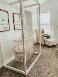 Lauren Stewart- Nursery Decor, Hanging Bassinet, Macrame Loving our new Hanging macrame Bassinet! It's adds such a special touch to our nursery! Baby Room Decor, Nursery Room, Kids Bedroom, Nursery Decor, Wood Bedroom, Bedroom Decor, Girl Nursery, Earthy Bedroom, Boho Nursery