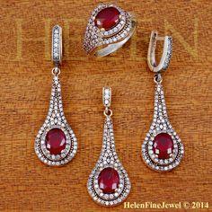 Hurrem Sultan Set  Oval Shape Ruby  Color Look by helenfinejewels