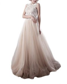 Andybridal Appliqued Champagne Organza Tulle Long Prom Dresses Evening Dresses For Weddings at Amazon Women's Clothing store: