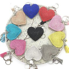 Bling mosaic leather heart keychain 10colors