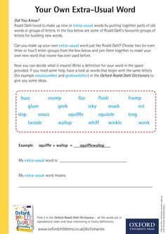 Create your own extra-usual word! Download our phizz-whizzing Oxford Roald Dahl Dictionary activity sheets now! #RoaldDahlDay #DahlDictionary Dictionary Activities, Roald Dahl Day, Activity Sheets, New Words, Makeup Yourself, Did You Know, Oxford, Letters, Education