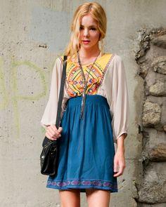 Embroidered Twofer Dress