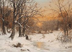 A woman gathering wood in a winter landscape at dusk by Alois Arnegger (1879-1967)