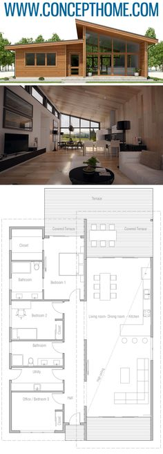 Small House Plan, Floor plan with three bedrooms, modern arc… – Architecture Ideas Small Floor Plans, Modern Floor Plans, Kitchen Floor Plans, Modern House Plans, House Floor Plans, Living Room Kitchen Layout, Architecture Design, Small Space Interior Design, Small Hallways
