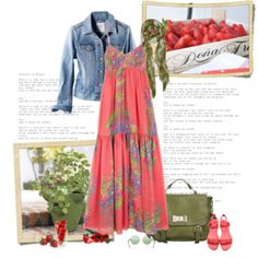 really cute maxi dress outfit. love the denim jacket with it