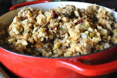 Vegan Wild Rice, Cranberry and Pine Nut Stuffing. Gluten Free  Option!  SWANK NOTE:  Omit vegan butter and use olive oil instead.