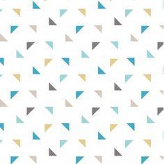 """Tissu de coton """"Twini"""" à triangles bleus & gris, fond blanc"""