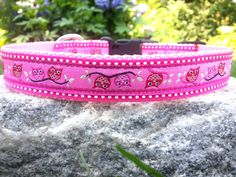 Hoot Owl 1 Inch Width Dog Collar by WillyWoofs on Etsy, $17.00