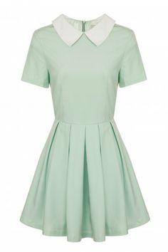 Mint Contrast Collar Box Pleat Skater Dress - from Lavish Alice UK