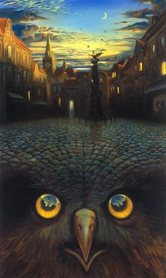 Vladimir Kush - Evening's Flight I am gobsmaked with this work... #street #owl