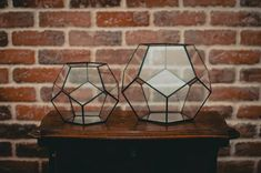 Set of 2 Terrarium Dodecahedron, Stained glass vase, Planter for indoor gardening, Geometric terrarium, Stained glass dodecahedron