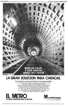 Publicidad del metro de Caracas. Publicado el 23 de septiembre de 1979.