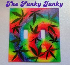 REAL MARIJUANA LEAF Double Light Switch Cover - Psychedelic Tie Dye Swirl - Neon Rainbow Glitter Resin. $20.00, via Etsy.