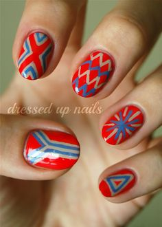 Red, Blue and Grey Nails