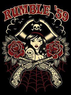 Rumble59 - Rock'n'Roll Pirate - Ladies T-Shirt Artwork by Claudia Hek (NL)