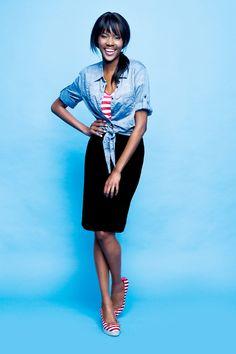Kelso denim shirter, striped tee and tube skirt