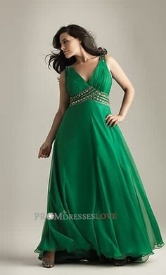 Green V-neck Beading Empire Plus Size Formal Gowns....Cause even thick girls like me like to look gorgeous.