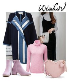 A fashion look from January 2017 featuring pinafore dress, pink cashmere sweater and long sleeve coat. Winter Ootd, Polyvore Fashion, Pure Products, Clothing, Image, Collection, Style, Tall Clothing, Clothes