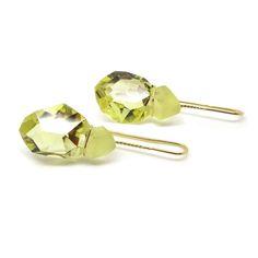 ORRO Contemporary Jewellery Glasgow - Annette Ehinger - Lemon Citrine Gold Earrings - Citrine Earrings - Modern Earring by Annette Ehinger at ORRO Jewellery