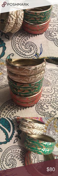 Hand painted gold bangles Awesome stackable gold bangles that can we worn together or separately. Perfect accessory for Spring & Summer. Nicole Miller Jewelry Bracelets