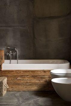 Wood clad bath