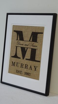 Personalized Burlap Monogram Family name - great gift for the happy couple