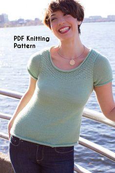 PDF Knitting Pattern: Roanoke, short-sleeved, drapey tee in fingering weight yarn with lace detail