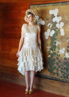vintage 1920s dress / 20s white silk wedding by honeytalkvintage